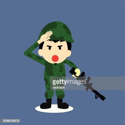 Soldier vector cartoon : Vector Art