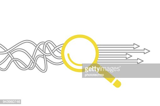 Solution Concept with Magnifying Glass : Vector Art