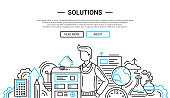 Solutions - illustration of vector modern plain line design composition and infographics elements with a male and business tools. Header, banner for your site.