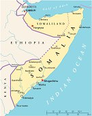 Political map of Somalia with capital Mogadishu, with national borders, most important cities and rivers. Illustration with English labeling and scaling.