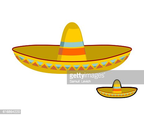 Sombrero isolated. Colorful Mexican hat ornament. National cap : Vector Art