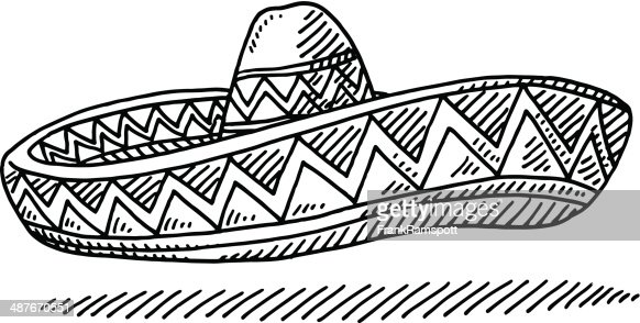 Line Drawing Hat : Sombrero chapeau mexcian dessin clipart vectoriel getty