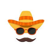 Mexican sombrero hat with sunglasses and moustache for Cinco de Mayo isolated on white background, illustration.