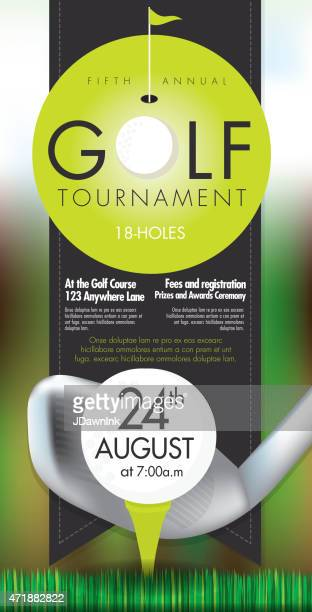 Sophisticated Golf tournament invitation design template on bokeh
