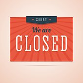 Sorry, we are closed sign in flat style with stars and rays. Retro, vintage style illustration for you shop, store or website. Vector illustration.