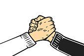 Soul brother cartoon handshake or homie handshake