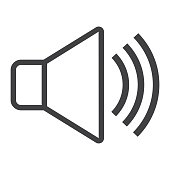 Sound line icon, web and mobile, voice sign vector graphics, a linear pattern on a white background, eps 10.