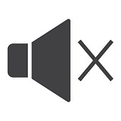 Sound off glyph icon, web and mobile, mute sign vector graphics, a solid pattern on a white background, eps 10.