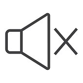 Sound off line icon, web and mobile, mute sign vector graphics, a linear pattern on a white background, eps 10.