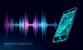 Sound recognition voice assistant low poly smartphone. Wireframe mesh polygonal 3D render sound innovative technology waveform. Audio equalizer digital computer concept vector illustration art