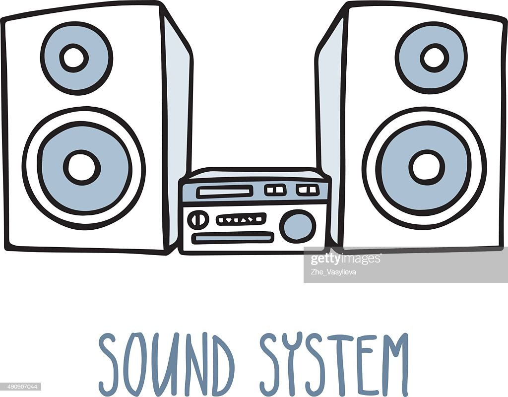 sound system clipart. sound system. cute doodle sketch isolated on white : vector art system clipart c