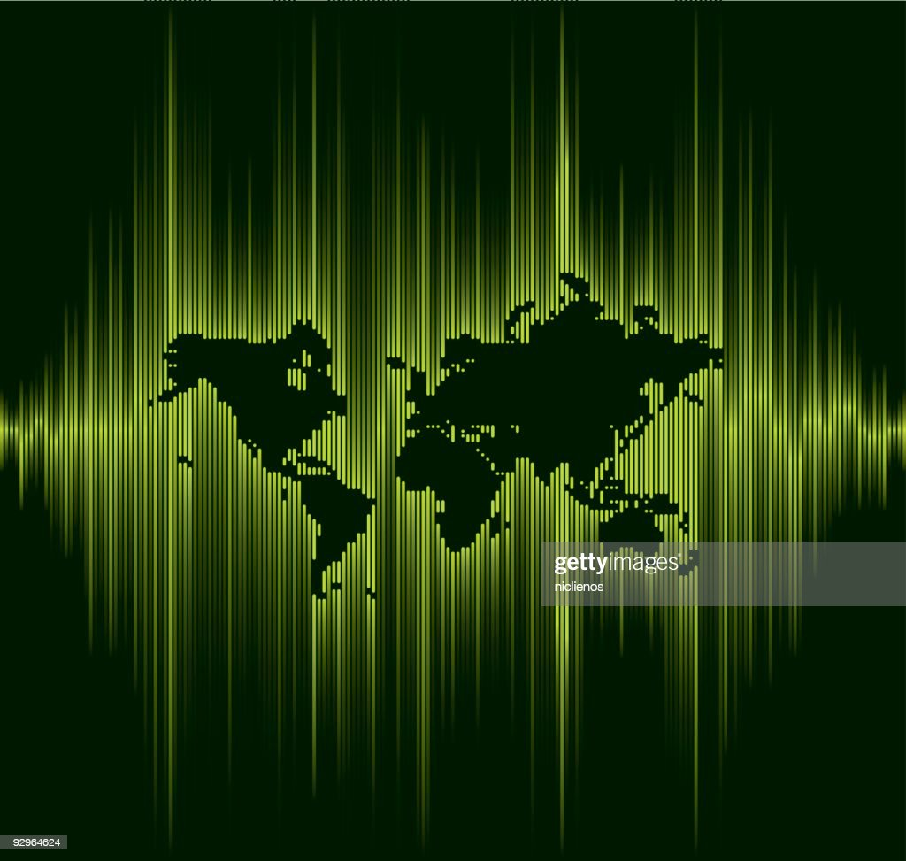 sound wave line world map vector art getty images