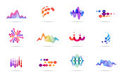 Sound wave, music, production logo and symbol collection, design icons set