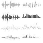 Sound waves on white background in vector