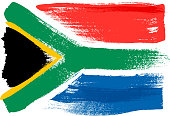 South Africa colorful brush strokes painted national country flag icon. Painted texture.