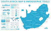 South Africa Map - Detailed Info Graphic Vector Illustration