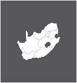 South Africa map vector outline with borders of provinces or states