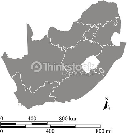 South Africa Map Outline Vector With Miles And Kilometers Scales