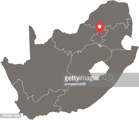 South Africa Map Vector Outline With Provinces Or States Borders And