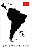 South America Blank Map. Highly detailed vector map.