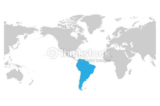 South america continent blue marked in grey silhouette of world map south america continent blue marked in grey silhouette of world map simple flat vector illustration gumiabroncs Images