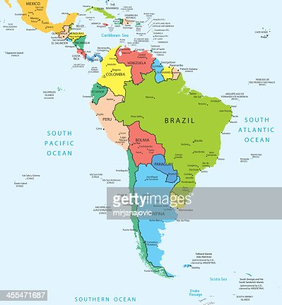 South America Map Countries And Cities Vector Art Getty Images - South america cities map