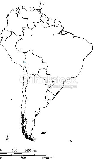 South America Map Outline Vector With Countries Borders And Scales ...
