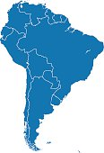 Vector of highly detailed South America map , Each country is an individual object and can be colored separately.