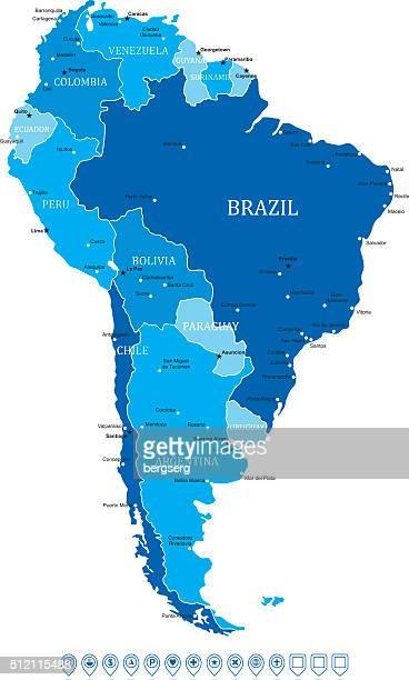Karte von Südamerika-Vektor-Illustration