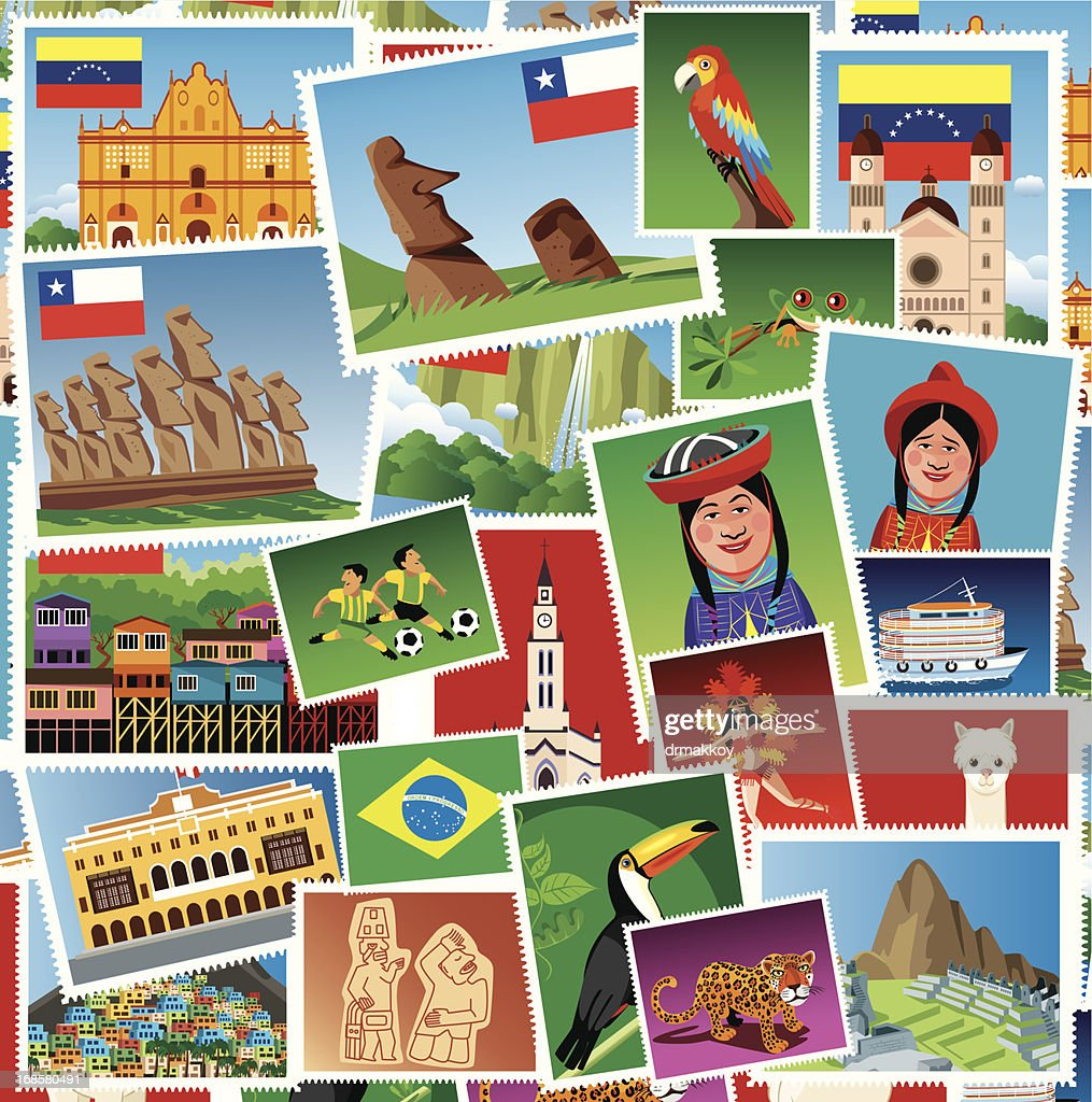 South America Stamps : Vector Art