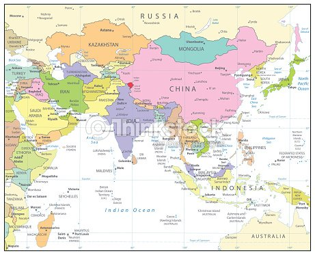 South Asia Political Map Isolated On White stock vector - Thinkstock
