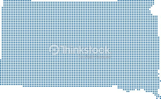 South Dakota State Of Usa Map Dots Vector Outline Illustration In
