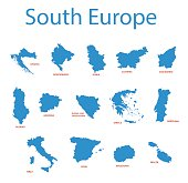 south europe - vector maps of territories