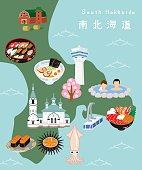 South Hokkaido Illustration Map.