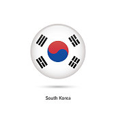 South Korea flag - round glossy button. Vector Illustration.
