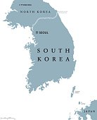 South Korea political map with capital Seoul and national borders. Republic in East Asia constituting the southern part of Korean Peninsula. Gray illustration with English labeling over white. Vector.