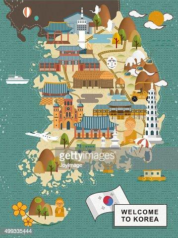 South Korea travel map : Vector Art