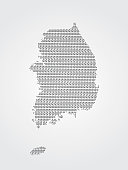 South Korea vector map illustration using binary codes on white background to mean advancement of digital and technology