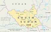 South Sudan political map with capital Juba, national borders, important cities, rivers and lakes. Illustration with English labeling and scaling.