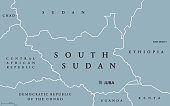 South Sudan political map with capital Juba and national borders. Republic and landlocked Arab country in Northern Africa. Gray illustration isolated on white background. English labeling. Vector.
