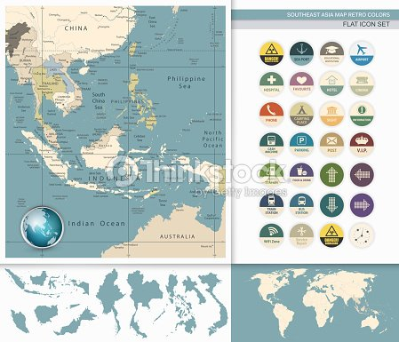 Detailed Map Of Asia.Southeast Asia Detailed Map And Flat Icon Setretro Colors Vector Art
