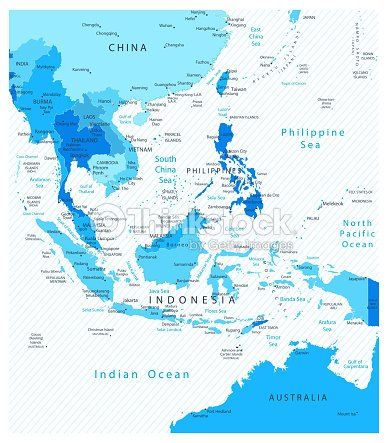 Detailed Map Of Asia.Southeast Asia Detailed Map Blue Colors Vector Art Thinkstock