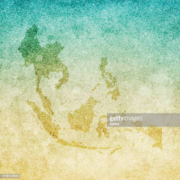 Southeast Asia Map on grunge Canvas Background
