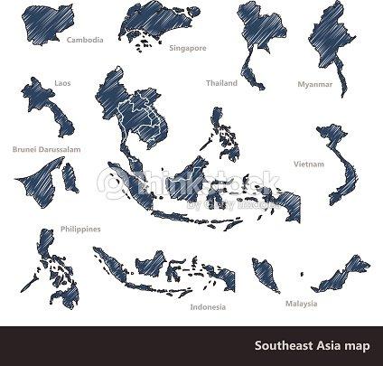 Southeast Asia Map Vector Art Thinkstock - Laos map vector
