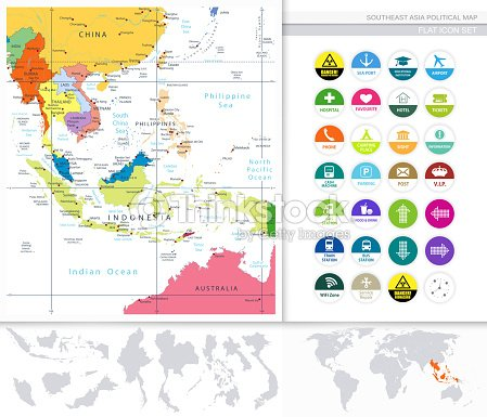 Southeast Asia Political Map And Flat Icon Set Vector Art | Thinkstock