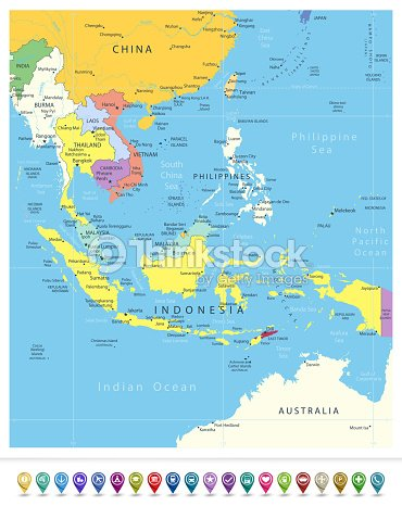 Southeast Asia Political Map And Navigation Icons stock vector ...