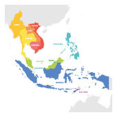 Southeast Asia Region. Colorful map of countries in southeastern Asia. Vector illustration.