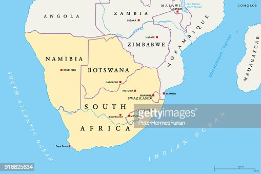 Southern Africa Region Political Map Vector Art Thinkstock