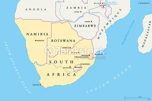 Southern Africa Region Political Map Vector Art Thinkstock