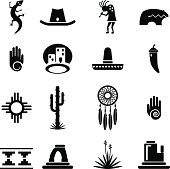 Set of southwestern desert icons. Each icon is grouped and organized on a named layer.